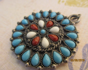 Spring Sale Antique Silver Turquoise Navajo Southwestern Style Pendant, Silver Vintage Turquoise Pendant, Southwestern Jewelry