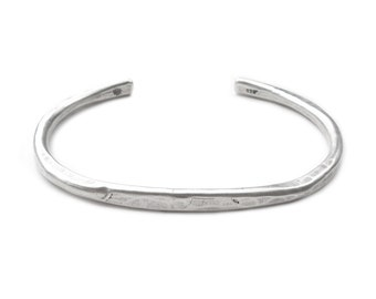 Mens Hammered Silver Cuff - Mens Sterling Silver Cuff Bracelet - Hammered Silver Bracelet - Heavy weight Sterling Cuff - Horizon Cuff