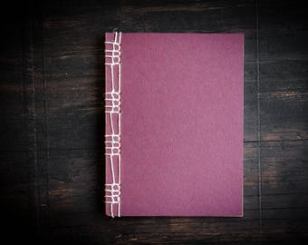 Burgundy Handmade Notebook, Stitched Binding with Natural Hemp Cord, Unlined Recycled Paper, Journal, Sketchbook, Eco Conscious