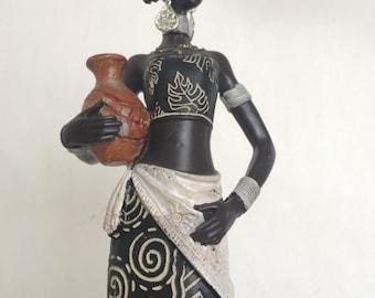 African Woman Statue - Kenyan Tribal Art Doll Figurine Sculpture Home Decoration