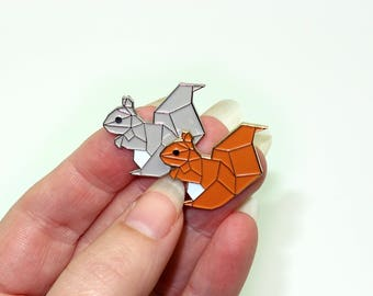 Geometric squirrel enamel pins - grey or red squirrel
