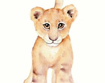 Lion nursery print, Lion watercolor painting, baby lion art, lion cub painting, lion wall art, boys room wall art, lion print