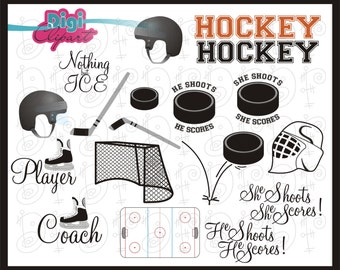 Ice Hockey Goal Net Ice Skate Rink Sports Clip Art INSTANT DOWNLOAD