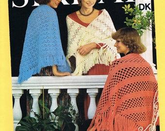 Original Vintage 1970's Sirdar Women's Knitting/Crochet Pattern 5789 -  Shawls in Double Knitting
