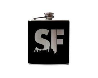 San Francisco City Flask- alcohol, Urban SF, whiskey- Personalized Custom - YOU pick COLOR