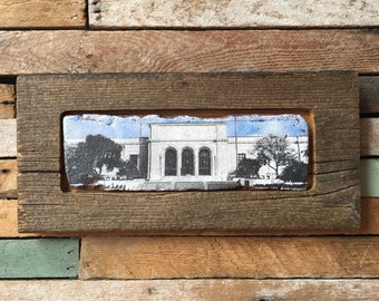 D.I.A. Detroit Institute of Arts on Brick Face, framed in Historic Detroit Reclaimed Wood, Photographic Print, wall hanging of iconic Detroi