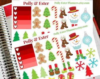 Christmas Planner Stickers,Holiday Planner Stickers, Holiday Planner Stickers,  Calendar Stickers, Christmas Tree, Gingerbread, Holiday