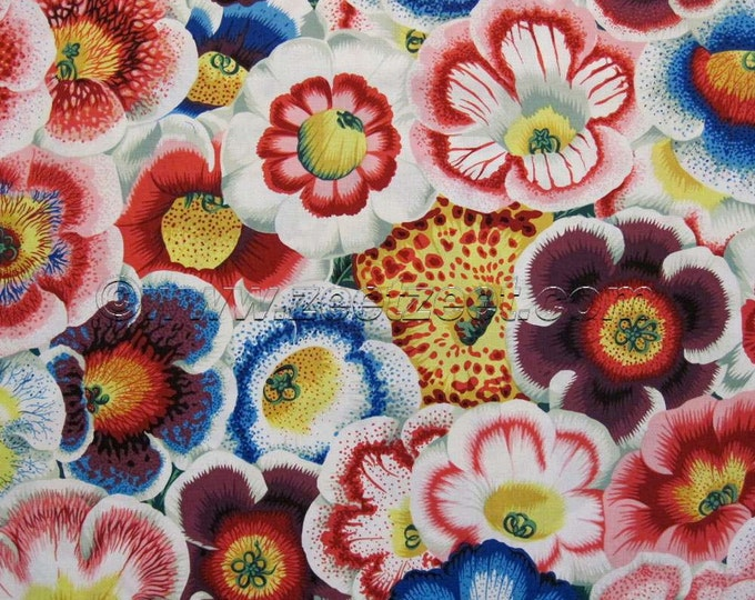 Kaffe Fassett GLOXINIAS Natural PWPJ071 Pansy Red White Blue Purple Cotton Quilt Fabric by the Yard, Half Yard, or Fat Quarter Fq