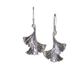 Silver Dangle Earrings with Two Gingko Leaves