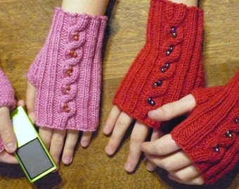 Beaded Mittlets Knitting Pattern, pdf download, cables and beads