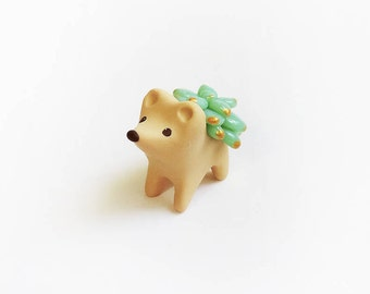 Gold Tipped Green Succulent Hedgehog Figure