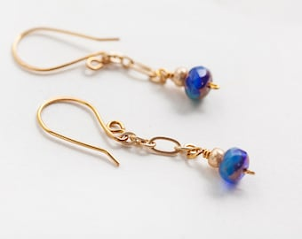 Blue Gold Earrings, Gold Chain Earrings, Blue Earrings, Gold Earrings, Chain Earrings, Petite Earrings, Bohemian Earrings, Blue Boho Earring
