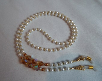 Topaz Crystal and Pearl Eyeglass Chain