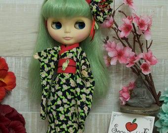 Kimono for Blythe + hairband 1 flower