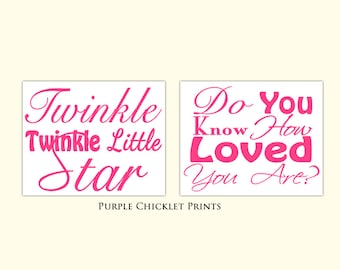 Twinkle Twinkle Little Star Do You Know How Love You Are Pink Wall Art Set Pink Nursery Room Quote Decor 8x10 Prints (144cd)