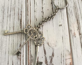 Three Keys Chainmaille Keychain--Stainless Steel...(wholesale pricing)