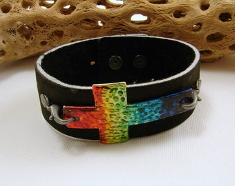 Black Leather Adjustable Bracelet with Rainbow Cross