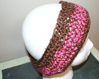 Wide Pink Headband, Chunky Headband, Womens Ear warmers, Brown Headband, Crochet Ski Hairband, Ski Headband, Snow Bunny Headband
