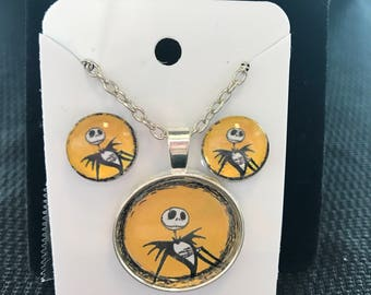 Jack Skellington the Pumpkin King Nightmare before Christmas earring and necklace set