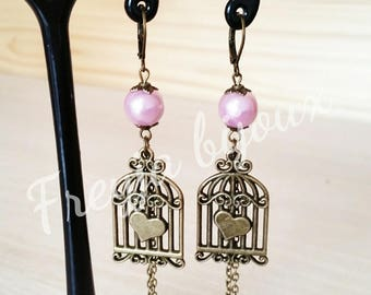 Pearl Earrings pink glass Pearl and bronze colored birdcage pendant