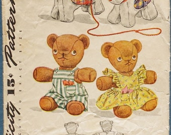 1940s Dog and Bear Sttuffed Animals - Simplicity Sewing Pattern 1149