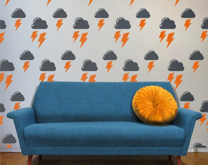 cloud and lightning bolts vinyl wall decal set, stormy days pattern wall decals, cloud art, lightning wall decor, FREE SHIPPING