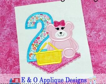 2 Picnic Girl Bear Digital Birthday Applique - Bear Birthday Machine Applique - Picnic Applique - Birthday Bear Applique Design