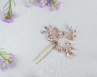 Bridal Hair pins, Wedding Hair pins, Rose Gold Hair pins, Wedding Headpiece, Rose Gold Headpiece, Bridal Hair Piece, Crystal Hair Pins