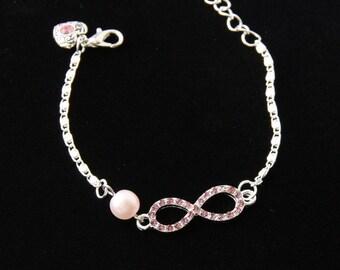 Bridesmaid Bracelet, Infinity Bracelet, Pearl And Crystal Bracelet, Wedding Bracelet, Bridal Accessory, Adjustable Bracelet, Bridesmaid Gift