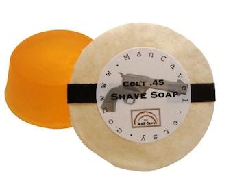 SHAVING Soap - COLT .45 - Long Lasting Shave Soap  - refills for shaving mugs too by Man Cave Soapworks
