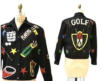 Vintage Sequin Jacket Black GOLF Sports Sporty Bomber Jacket By Modi Medium Large// Vintage Sequin Jacket Pop Art