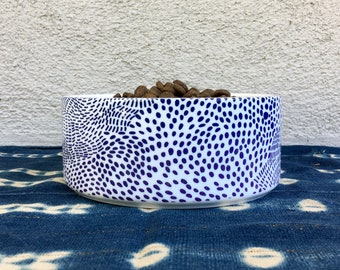Modern Ceramic Dog Bowl with a Blue Dot Pattern. Cute!