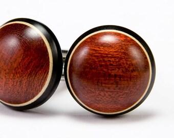 Wooden Cufflinks - Bloodwood Ebony Holly Wood Cuff Links - Graduation, Fathers Day, Anniversary, Wedding, Groomsmen Gift