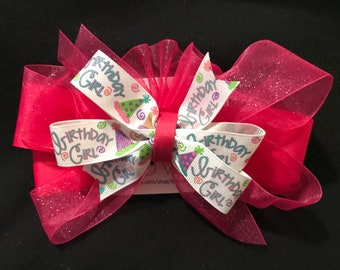 Happy Birthday Pink tulle hair bow with clip
