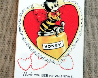 Retro Won't You Bee My Valentine Honey Gift Tags or Scrapbook Tags #449