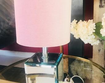 Cute mirror light with pink velvet hood