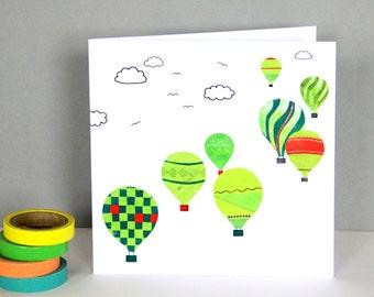 Bristol Balloons Greetings Card | Green Balloons Card | Children's Card | Bristol Card | Bristol Balloon Art | Balloons Birthday Card
