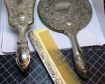 Stunning Silver Plated Vanity Set 3 Piece Dresser Set Fluted Design ribbons flowers vintage set & Silver plated vanity set | Etsy