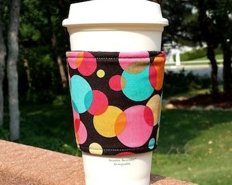 Fabric coffee cozy / cup holder / coffee sleeve  -- Bold circus polka dots - Michael Miller Bubble Blast