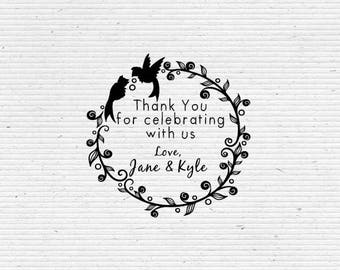 Personalized Thank You Stamp, Post Wedding Reception Stamp with Pair of Birds in Decorative Wreath BRS004-WEDDING