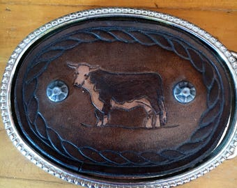 Steer Belt Buckle leather with gunmetal rivets