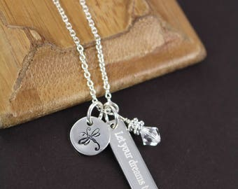 Let Your Dreams Take Flight Necklace - Inspirational Jewelry with a Cause 925 Sterling Silver - Dragonfly Charm - Help Jaslyn