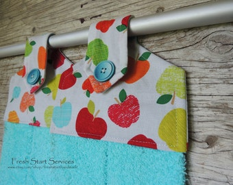 Apple Hanging Towel - Teacher Gift - Hanging Hand Towel - House Warming Gift -  Kitchen Towel - Retro Hand Towel - Gifts for Teacher