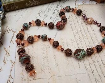 Raku Lampwork Artisan Beaded Pendant Necklace with Copper and Crystal