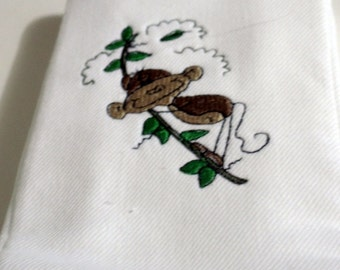 Embroidery Monkey Swinging Burp Cloth Baby White Cotton Terry Cloth
