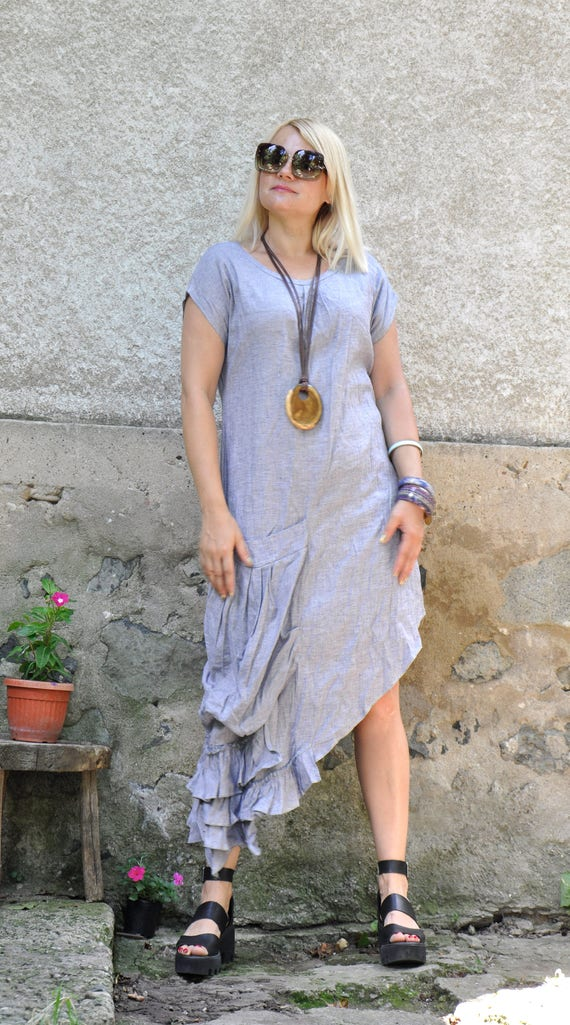 Everyday dress dress Extravagant dress D0327 summer Asymmetrical Linen One Maxi Casual dress grey Loose big LINEN dress dress pocket TYwBa