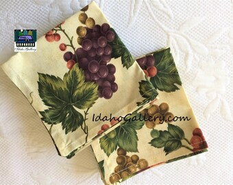 Fabric Napkins Vineyard Tuscany Grape Set of 12 Grape Table Napkins Lovely Gift Ready to Ship Sustainable Reusable Go Green Save the Trees