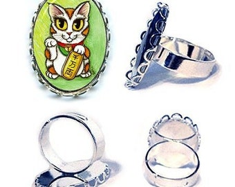 Lucky Cat Ring Maneki Neko Luck Silver Cat Ring Fantasy Cat Art Cameo Ring 25x18mm Gift for Cat Lovers Jewelry