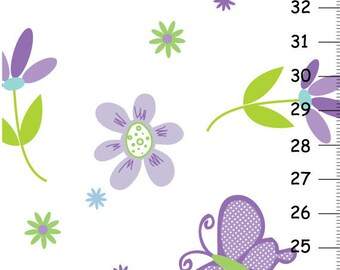 Personalized Canvas Growth Chart - Butterfly garden party purple