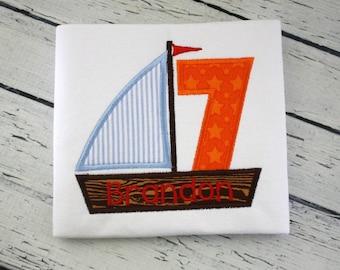Sailboat Birthday Shirt - 1st Birthday, Sailing Birthday, Boy Birthday, Birthday Outfit, Summer Birthday, Sailboat Shirt, Birthday Number